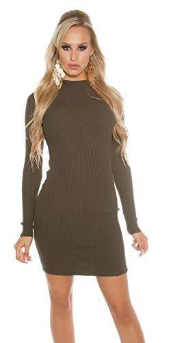Koucla Damen Strickkleid Feinstrick Ripp Kleid Minikleid Stehkragen | Long Pullover Pullikleid gerippt | khaki 32 34 36
