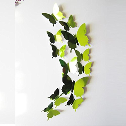 Saingace Wandaufkleber Wandtattoo Wandsticker,Wand-Sticker Aufkleber Schmetterlinge 3D-Spiegel-Wand-Kunst-Home Dekore (grün) (Spiegel Für Wand-dekor)