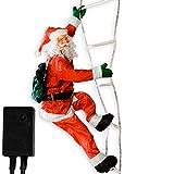 Maxstore Weihnachtsmann auf Leuchtleiter, verstellbar, Gesamthöhe 240 cm, für innen und aussen, 8 Leuchtprogramme