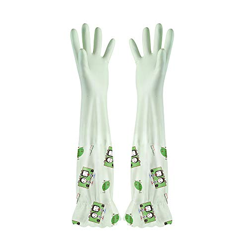 Waterproof Velvet Gloves Wash Dishes Dishwashing House Cleaning (GN)