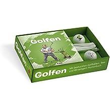 Golfen: Geschenkbox mit Humorbuch, 2 bedruckten Golfbällen und 10 Tees