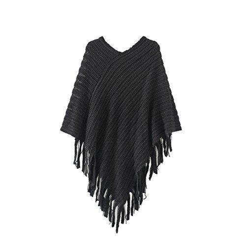 Butterme Womens V collare nappe Poncho Capo Scialli Batwing del Knit di inverno maglione del mantello(Nero)