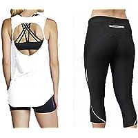 Completo Outfit–Donna Sportswear Yoga taglio Open Back Canotta Palestra e Fitness Corsa Leggings. Perfetto per Pilates, Yoga Zumba e classi di danza. UK SELLER, White, S (10)