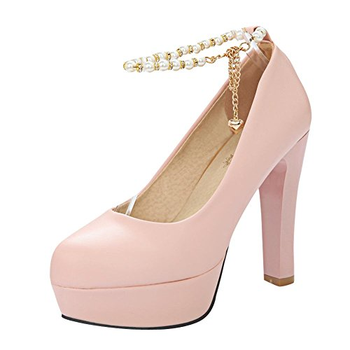 Mee Shoes Damen Ankle strap Plateau high heels Pumps Pink