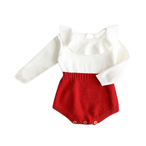 BeautyTop Kleinkind Neugeborenen Mädchen Baby Gestrickten Pullover Winter Warme Prinzessin Strampler Overall Kleidung Outfit (Rot, 70/3-6 Monate)