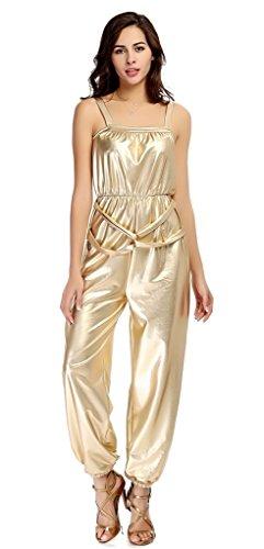 Bigood Combinaison Pantalon Femme Dorure Déguisement Soirée Cérémonie Casual Clubwear Or