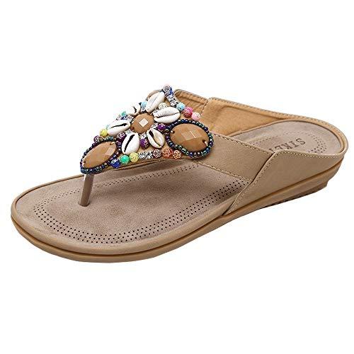 Schuhe Urlaub Bohomia Freizeit Dame String Bead Slip-on Sandalen Peep-Toe T-Strap Hausschuhe Indoor & Outdoor Sommer Strand Schuhe ()