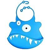 Niedlich Baby Lätzchen Silikon Wasserdicht Einfache Bereinigen Krümelfänger Blau Hai Muster
