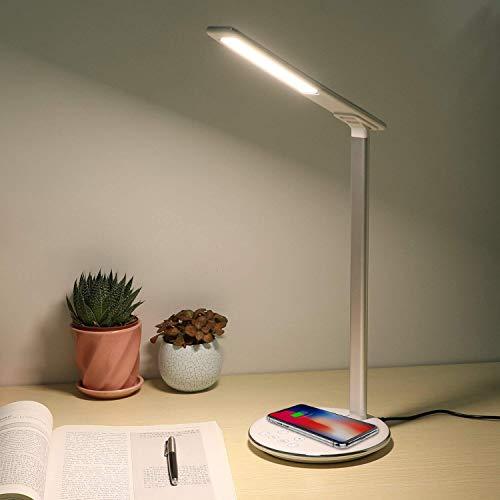 Lampada da tavolo a LED dimmerabile con caricabatterie wireless Qi, 4 Luminosità 5 Temperature di Colore, pieghevole lampada da comodino lampada soggiorno lampada da terra per Samsung Galaxy e iPhone