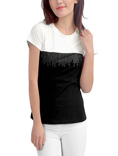 Allegra K Femme Strass Manches Courtes Col Rond T-shirts Couleurs Haut Blanc