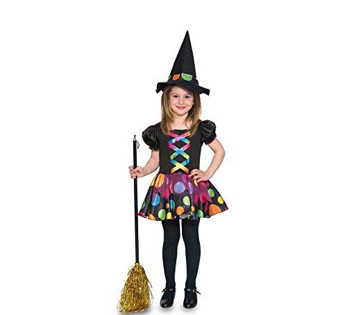 Imagen de disfraz de bruja con topos para niña y bebé
