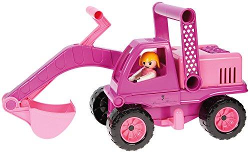 Lena 04102 - Prinzessin von Hohenzollern Bagger, ca. 35 cm mit Mädchen-Spielfigur, rosa/pink