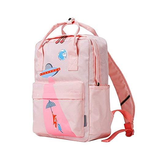 Print-laptop-tasche (XINBABY Mädchen Rucksack, leichte Schule Rucksack Frauen Floral wasserdichter Rucksack Mode Print Rucksack lässig Rucksack 12-Zoll-Laptop-Tasche (Color : Pink))