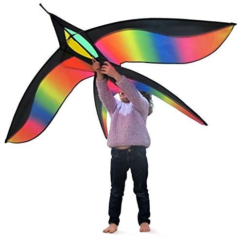 Tomi Bird Kite – Gran Cometa En Forma De Pájaro Ideal Para Niños y Adultos - Fácil de Volar con Viento Fuerte o una Suave Brisa – 155*95 cm - 100 Metros de Hilo – Exclusivo Mango Anillo - Construido Para Durar – Genial Para la Diversión Familiar