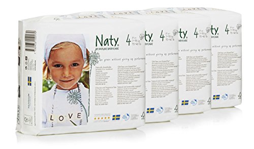 Naty by Nature Babycare ECO Nappies – Size 4, 4 x Packs of 27 (108 Nappies)