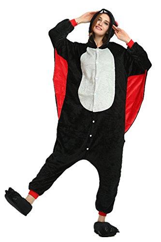 Mystery&Melody Erwachsene Fledermaus Pyjamas Unisex Cosplay Kostüme Flanell Overalls Party Kostüme (Für Fledermaus Erwachsene Kostüm)