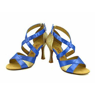 Scarpe da ballo-Personalizzabile-Da donna-Balli latino-americani / Salsa-Tacco su misura-Raso-Nero / Blu / Giallo / Rosa / Viola / Rosso White