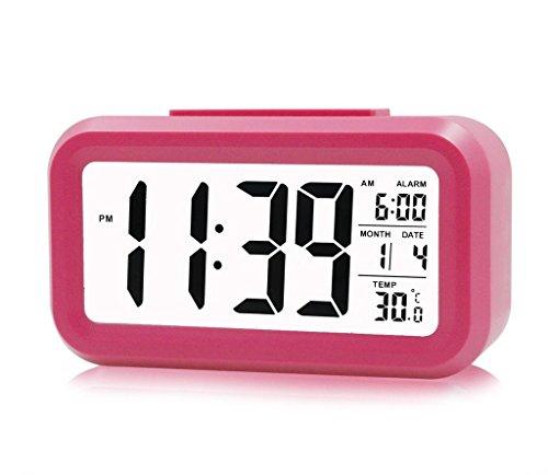 Fieans Volltonfarbe Gestrafft LCD Wecker Temperatur-intelligentes Wecker Digitalwecker Reisewecker-Rosa