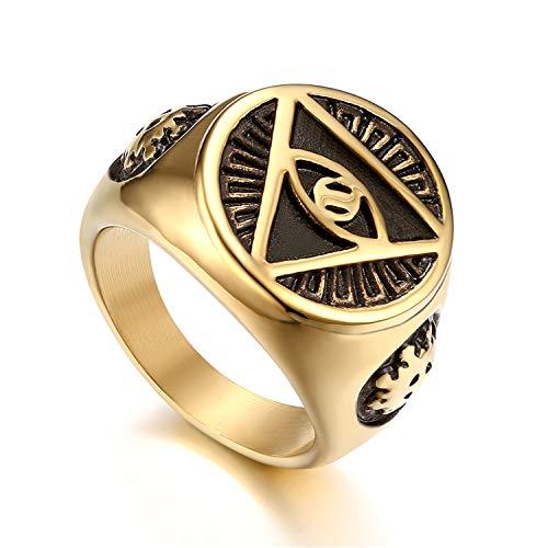 Flongo Herrenring Männer Ringe Siegelring Bandring, Edelstahl Biker Siegel Ring Auge der Vorsehung Eye of Providence All-Seeing Eye of God Pyramid Gold Golden Daumenring Schmuck Herren-Accessoires