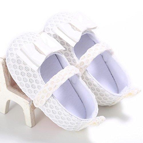 Baby Schuhe Auxma Baby Kleinkindschuhe ,Baby nette Bowknot Baumwolle weiche Sole Schuhe Für 0-18 Monate (12 6-12 M, Schwarz) Weiß