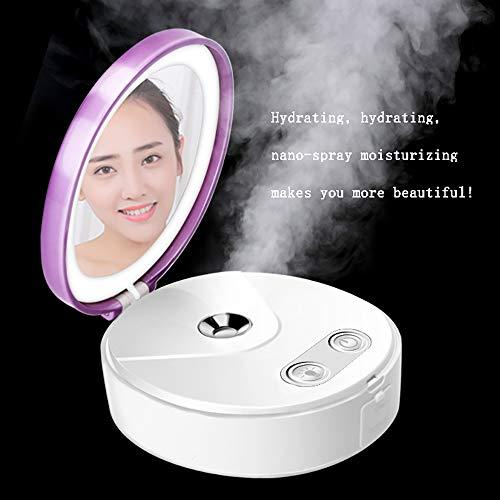 ZZYYZZ Dampfgesicht Steam Facer Nano-Hydrating Portable Mirror Wiederaufladbarer Dampfer Portable Tiefenreinigung Geeignet für alle Hauttypen - Beruhigendes Emollient