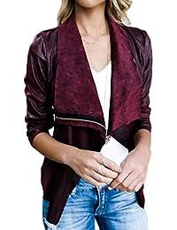 BOLAWOO Donna Outerwear Vintage Manica Lunga Cappotto Corto Camoscio Mode  di Marca Bavero Eleganti Casual con 5e2ec68df8f