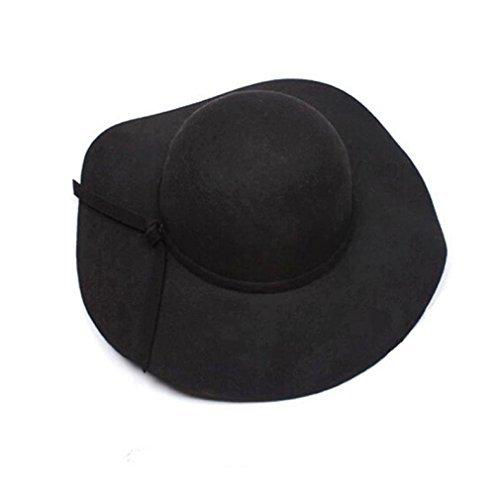 n Wolle Breiter Krempe Filz Bowler Fedora Hat Lady Floppy Cloche (schwarz) (Filz Fedoras)