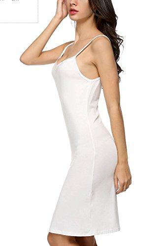 ZEARO Mode Robe Débardeur/Fond De Robe Droite/Femme Chemise Casual A Fines Bretelles Col V Dos Nus Femme Eté Blanc