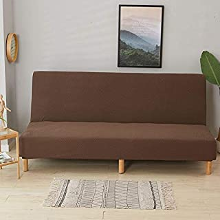Awtang Futon Slipcover Armless Sofa Cover Polyester Spandex Fabric Stretch Slipcovers Seater Couch Protector fit Folding Sofa Bed Without Armrests(Length 62.99-74.80in)