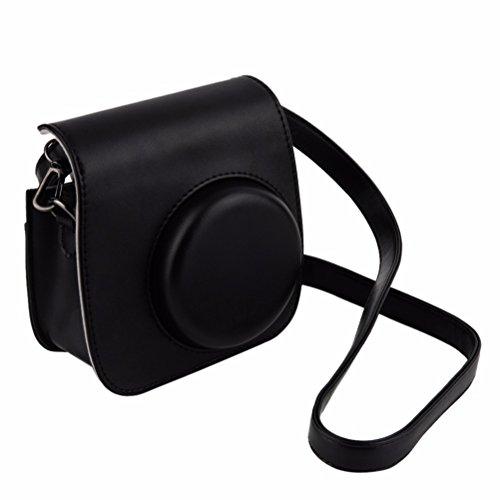 LURROSE Vintage umfassende Schutzkameratasche mit PU-Leder für Fujifilm Instax Mini 8/8 + / 9 Sofortbildkamera (Schwarz)