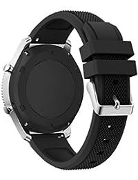 Deportes correa de reloj, happytop 22mm Silicona Pulsera Reloj Banda Muñeca Banda para Samsung Gear S3Classic, hombre, negro, S