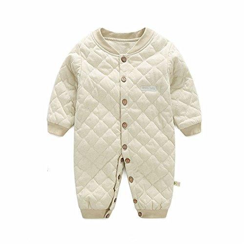 , Chickwin Unisex 100 % Reine Baumwolle Warme Herbst und Winter Säuglinge Mädchen Jungen Jumpsuit Baby Schlafanzug (73 cm (6-12 Monate), Hellgrün) (Baby Yoda Kostüm 6-12 Monate)