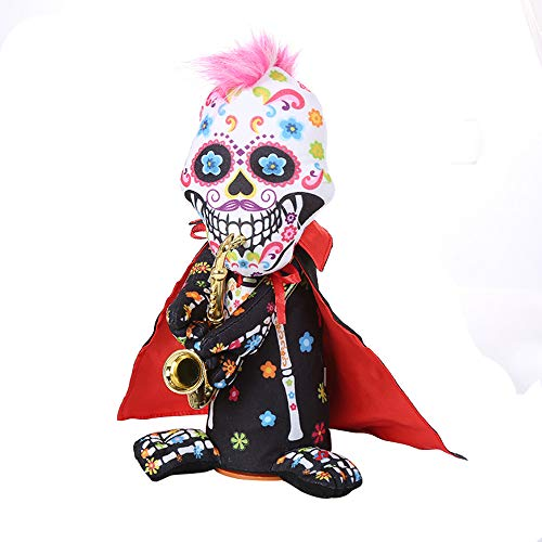Halloween skull zombie doll with saxophone  - can twist, sing and dance - H.eternal  Happy Animated Party Decoration Toy (Not included batteries) (B) - 30cm 11""