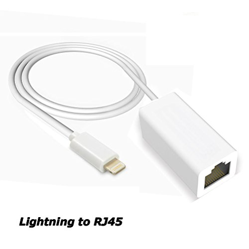 Funkprofi Lightning auf RJ45 Ethernet LAN Netzwerk Adapter Konverter für Apple iPhone/iPad Plug & Play Silber