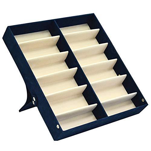 Clius, scatola portaoggetti con 12 scomparti, salvaspazio, espositore per orologi, gioielli, organizer con coperchio, occhiali protettivi portatili (nero), blue, taglia libera