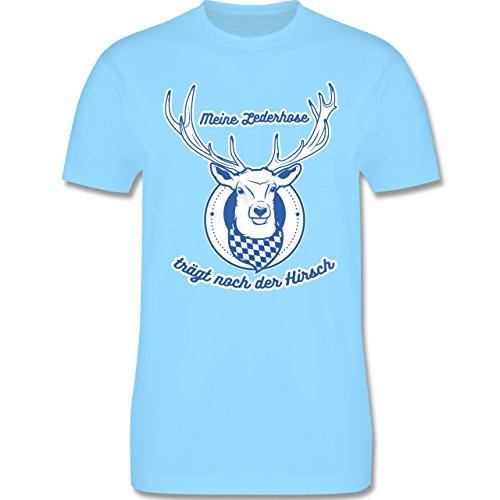 4246a0e12eab0b Shirtracer Oktoberfest Herren Meine Lederhose Trägt Noch der Hirsch Herren  TShirt Rundhals Hellblau