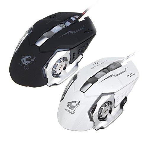 Tutoy Freie Wolf 4000Dpi 6 Taste Led Optische Gaming Maus Mechanische Makro Programmierbare Für Pc Laptop-Weiß