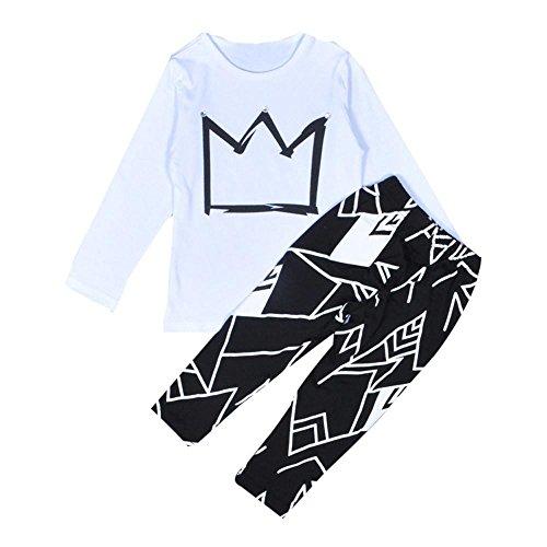 FNKDOR Jungen Bekleidungsset 2-6 Jahre Kinder Kleidung Krone Langarm shirt und Hose (4 Jahre, Weiß) (Schnee Weiße Krone)