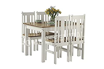Ellingham Contrasting Oak and White Dining Set produced by Limitless Base - uk fast delivery