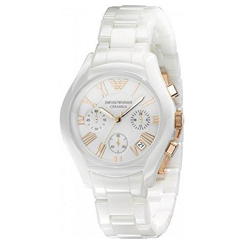 Emporio Armani AR1417 - Reloj para mujeres, correa de cerámica color blanco