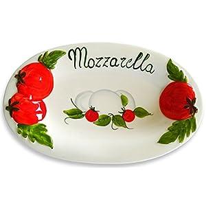 Lashuma Handgemachte Ovale Servierplatte im Tomate Mozzarella Design aus Italienischer Keramik, Servierteller 31 x 20 cm, 3 cm tief