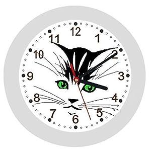 ✿ Kinderwanduhr in 4 Farben ✿ KATZE Cat 1 ✿ Wanduhr ✿ KEIN TICKEN ✿ mit/ohne Name