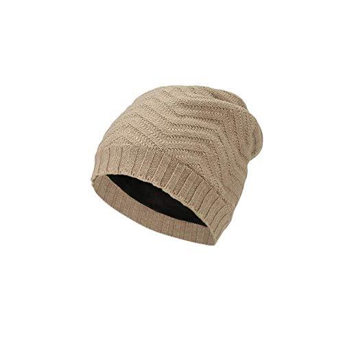 LIXUE Chapeau féminin épaississement Version coréenne Sauvage Plus Oreille de Duvet Protection Ski Couple Tricot Pull (Color : Beige, Size : One Size)