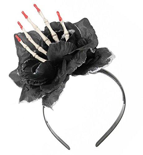 Bella Kostüm Edward Und - Halloween Haarreif Schwarze Rose mit Hand-Skelett Gothic Haarschmuck