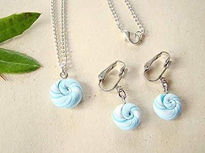 Coffret cadeau anniversaire, bijoux fimo, collier et boucles d'oreilles clips enfants sucettes lollipops fimo bleu