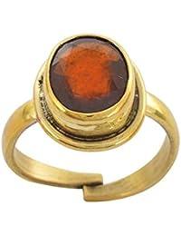 Krishna Gems Handmade Designer Certified Natural Hessonite Gomed Adjustable Golden Panchdhatu Adjustable Ring