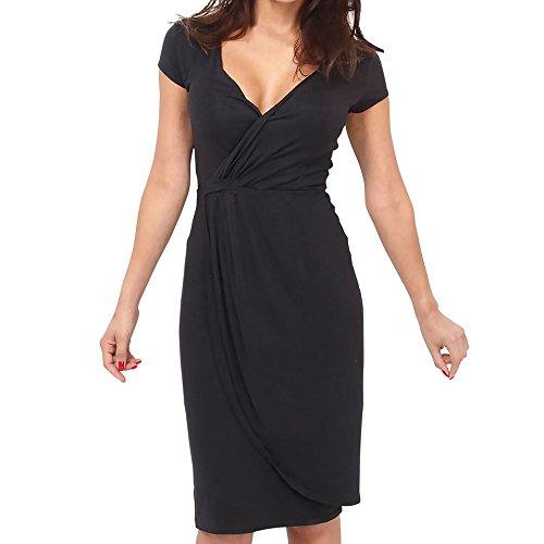 (IMJONO Frauen Kleid Dress Sommer-Frauen tiefem V-Ausschnitt beiläufiges Kleid Partei-Kurzschluss-Kleid der Frauen BK / 2XL(XX-Large,Schwarz))