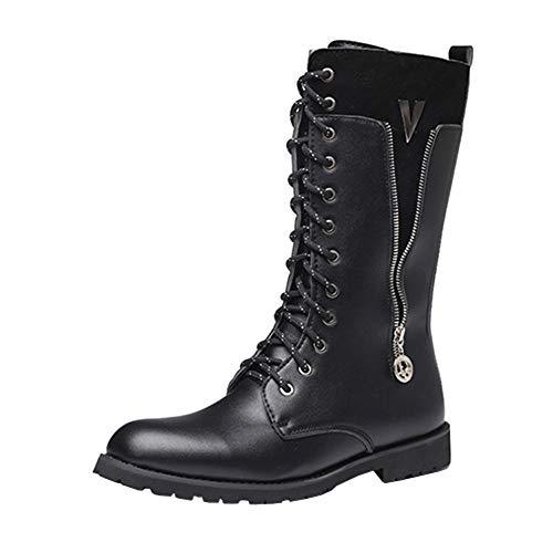 Botas altas casuales de los hombres,Botas cómdas con cremallera, botas clásicas con cremallera,Botas Martin impermeables al aire libre antideslizantes botas de trabajo botas occidentales de vaquero