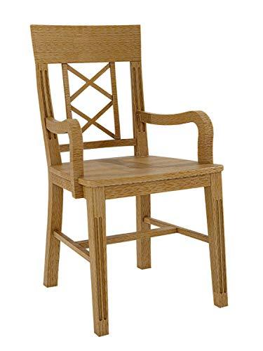 Esszimmer Stuhl mit Armlehnen Chalet mit Holzsitzfläche Pinie massiv karamell