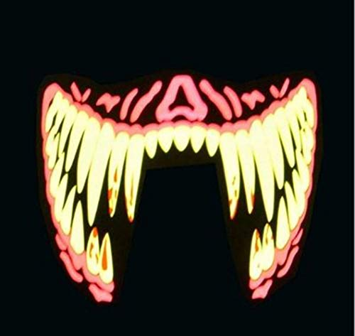 Halloween LED Masken Kleidung Big Terror Maske Cold Light Helmet Fire Festival Party Glowing Dance Steady On Driver,004